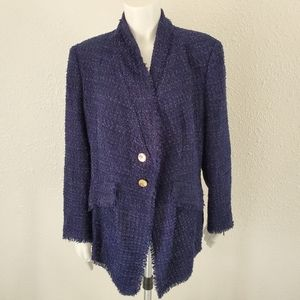 Escada Shaggy Fringe Boucle Knit Jacket 44 8